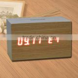 LED Wooden Table Clock with Touch Function for Snooze