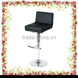 NEW Black Leather Effect Adjustable Chrome Finish Base Bar Stool