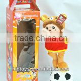 13CM Plush musical dancing doll with football,Animal Doll toys