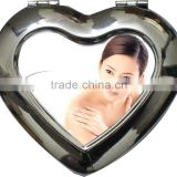 Sublimation silver small heart shape photo compact mirror, Make up Mirror