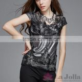 2016 Summer Fashion Ladies Lace macrame Sexy short sleeves T-shirt 136