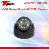 CME-990 IR waterproof CCD dome camera ideal for monitoring entrances, hotel, school, shops, etc.
