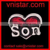 Vnistar interchangeable red son heart floating charms for glass locket wholesale AC177