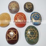 Seven Body chakra engarved Reiki sets Healing Crystals Spirituality Energy stones