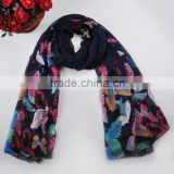 knitted hijab new fashion Colored butterfly Print Women viscose scarf pashmina shawl scarf wholesale price                                                                                                         Supplier's Choice