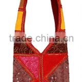 Discount Bohemian Patchwork Cotton Long Shoulder Bag,Ethnic tribal embroidered handbags buy online wholesale price