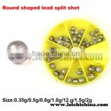 Round shaped lead split shot fishing accessory