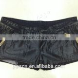 New arrival hot sexy women genuine leather zipper black sexy tight shorts girls tight jeans shorts
