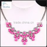 Statement Bib Necklace Bubble Bead Resin pink Crystal