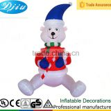 DJ-512 inflatable sitting bear blue hat red clothes lovely outdoor decor