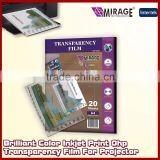 Brilliant Color Inkjet Print Ohp Transparency Film For Projector