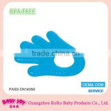 100% food grade factory price good quality hand shape blue durable filled-water silicone soft baby teether wholesale
