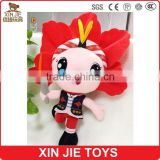 2015 new style soft mascot with clothing corporate plush mascot with a torch enterprise stuffed mascot toy