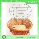 2016 new brown color Wicker Pet Bike Basket Bicycle for animal with handle