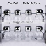 TW1041 8pcs glass spice jar set with wooden rack