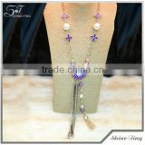 long gold plated chain necklace with purple sunflower pendant big crystal and tassel costume jewelry