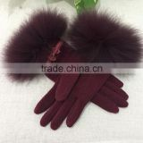 Sweet Heart Fox Fur Trim Wool Knitted Mittens With Cute Bow Fur Cuff Cashmere Fingers Gloves For Girls