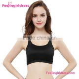 Black gym wear fabric strappy sports bra for women                                                                                                         Supplier's Choice
