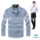 long sleeve 2012 blue plaid slim fit 100% cotton Casual style business dress latest brand design fashion men shirt custom