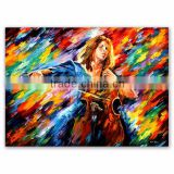 Newest Design Oil Painting Music Girl Playing the Violin by Knife Textured
