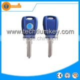 abs blue transponder key shell with logo uncut blade chip groove for fiat ducato panda brava marea
