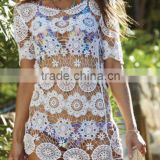 Women's embroidered net beach kaftan, beach wear, beach wrap, swim wear, tunic, women's sexy dress