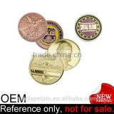 novelty size promotion cheap souvenir custom gold plated tungsten coin