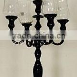 Glass Candelabra/Black Candelabra/Wedding Candelabra/Wedding Centerpiece/5 arm candelabra