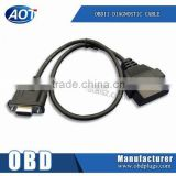 OBD2 16PIN TO DB9 RS232 Black Plastic Cable for Car Diagnostic Adapter Scanner