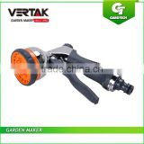 Heavy Duty Metal Water Spray Gun, Garden Hose Nozzle, 8 Fuctions Chrome Plated Hand Sprayer
