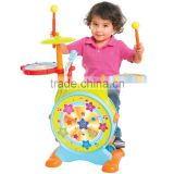 Dongguan Toys Kids Electronic Toy Drum Set with Adjustable Sing-along Microphone and Stool from Factory