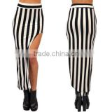 Fashion Womens Summer Bodycon High Waist High Split Black&White Striped Casual Long Skirt