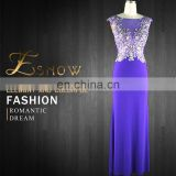 2016 Gold Supplier Elegant Scoop Applique with Beaded Fashion Evening Dress for Ladies