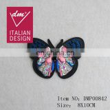 Good Quality wholesale beaded PINK butterfly embroidery patch for clothing