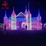 Huayicai factory sales Christmas castle 3d motif lights for holiday decorations