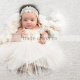 Baptism Dress Ivory or White Lace, Satin and Tulle Fashion Baby Girls Maxi Dress Ruffle Tiered Dress