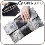 handmade luxury snake skin exotic leather evening clutch fashion original color genuine ptyhon skin clutch wallet for women