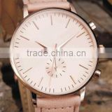 2016 vogue womens watches leather strap casual life style rose gold plated quartz classic style