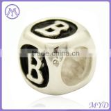 925 sterling silver single letter B alphabet beads fit European charm bracelet