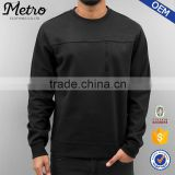 2016 Wholesale Custom Mens Black Zip Crew-neck Sweatshirts