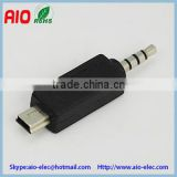 mini USB 5 pin plug male to 4C 4 pole 4 pin 3.5mm plug male adaptor connector for cellphone headsets
