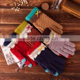 Touch Screen gloves fingers magic jacquard knitted gloves ,winter fashion women solid color wool gloves