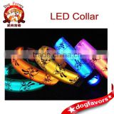 5 Color LED Flashing Dog Pet Collar Adjustable Nolon Patterned Neck Strap Buckle
