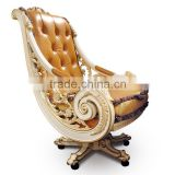Luxury Genuine Leather Office Chair New Design Baroque Golden Carved Office Chair Swivel Executive Chair                                                                         Quality Choice