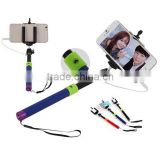 2015 extendable monopod cable take pole selfie stick no need to connect bluetooth and free- charge