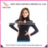 Latest Design OEM Long Sleeve Convertible Button Collar Fashion Sexy Girl Plus Size Seamless Ladies Tops
