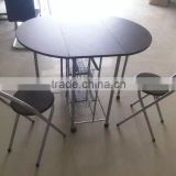 Colombia selling 1+2 wooden batterfly breakfast folding metal dining table set with MDF