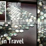 Black lip sea shell mosaic tile hexagon mother of pearl
