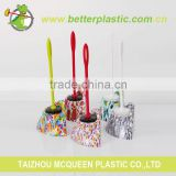 Factory cleaning brush cheap 2011F plastic soft handle triangle shape design toilet brush set