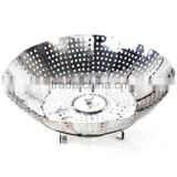 New chinese Stainless steel steamer dish fruit tray folding Egg Dishes Steamer Tray Kitchen basket